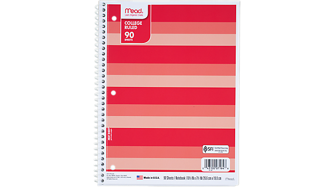 Mead® Commodity Fashion College Ruled Notebook - 1 Subject (07164) - Mead Notebooks