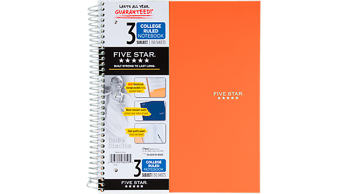 Five Star® Trend Wirebound College Ruled Notebook - 3 Subject (06050) - Five Star Notebooks