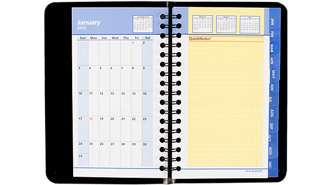 At-A-Glance® 2016 QuickNotes® Weekly-Monthly Pocket Appointment Book (7603 16) - Weekly - Monthly Appointment Books