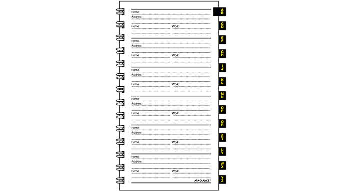 At-A-Glance® Tabbed Telephone/Address Refill for 70-008, 70-543 and 70-064 (8090910) - Telephone-Address Pages & Tabs