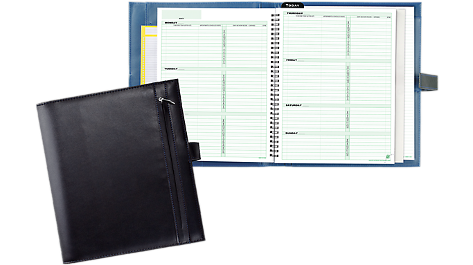 Special Offer Day-Timer Casual Black Vinyl Wire Bound Starter Set, Hidden Slip Tab Closure Notebook Size (8108) – Planner Sets Before Too Late