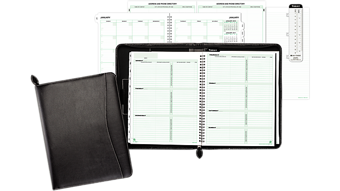 Day-Timer Green Series Basque Black Bonded Leather Wire Bound Starter Set, Zip Closure Notebook Size (8545) - Planner Sets