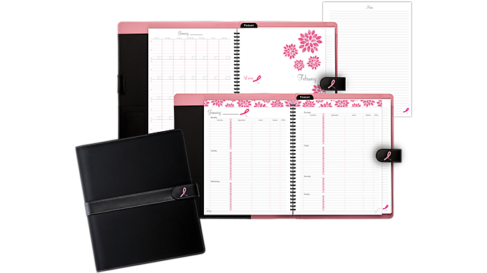 Day-Timer Pink Ribbon Black Microfiber Wire Bound Starter Set, Snap Tab Closure Notebook Size (8812) - Planner Sets
