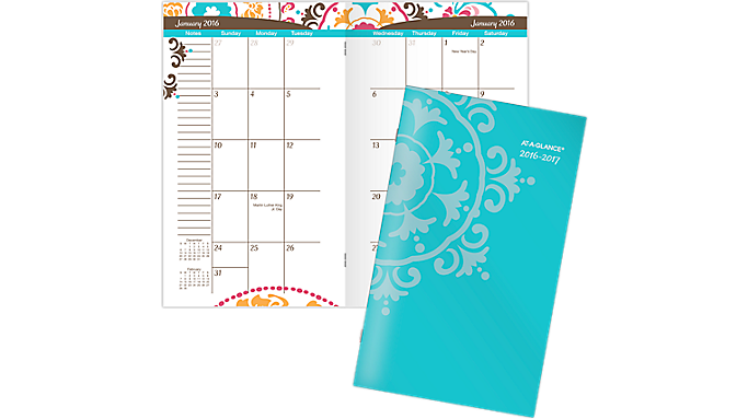 At-A-Glance® 2016 - 2018 Suzani 2 Year Pocket Planner (917-021 16) - Multi-Year Planners