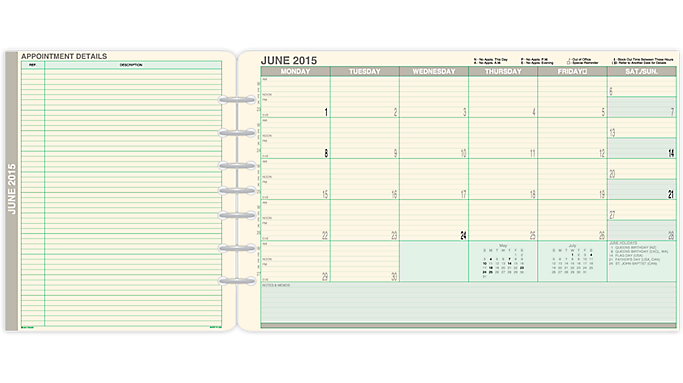 Day-Timer® 2016 Fold-Out Monthly Dividers Folio Size (94020 16) - July Start Refills