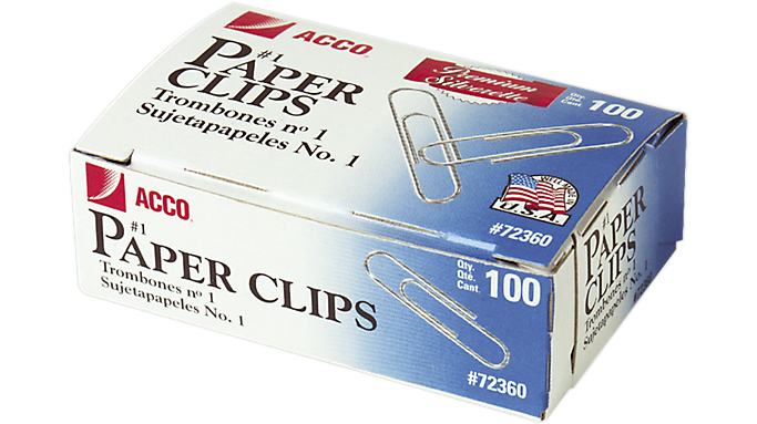 Acco® Premium Paper Clips, Smooth Finish (A7072360) - Staples & Clips