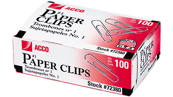 Acco® Economy #1 Paper Clips, Smooth Finish (A7072380) - Staples & Clips