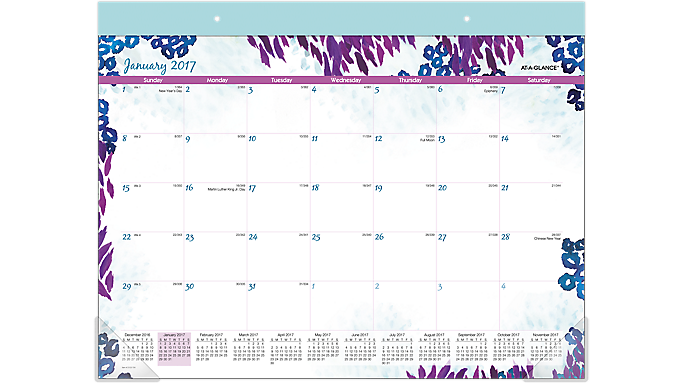 """2017 AT-A-GLANCE® Monthly Desk Pad, 21 3/4"""" x 16 1/4"""", Wild Washes (D123 704 17) D123-704-17"""