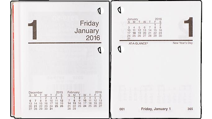 At-A-Glance® 2016 Compact Daily Desk Calendar Refill (E91950 16) - Desk Calendar Refills