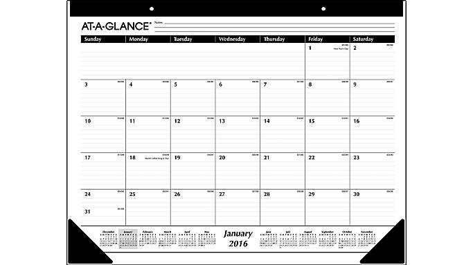At-A-Glance® 2016 Monthly Desk Pad (SK24 16) - Desk Pads SK240016