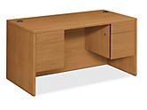 HON 10500 Series Double Pedestal Desk Harvest Front Side View H10573.CC