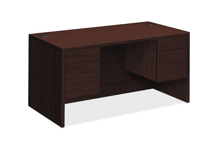 HON 10500 Series Double Pedestal Desk Mahogany Front Side View H10573.NN