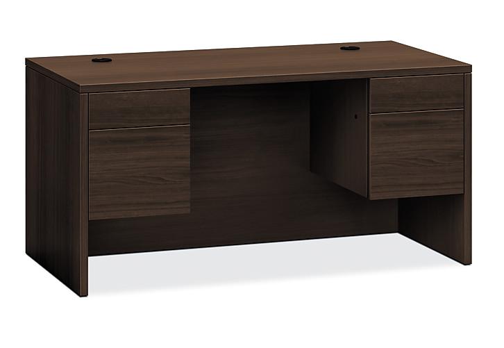 HON 10500 Series Double Pedestal Desk Dark Brown Front Side View H10573.ZZ