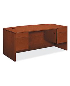 HON 10500 Series Double Pedestal Desk Brown Front Side View H10595.JJ