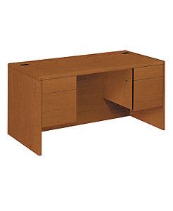 HON 10700 Series Double Pedestal Desk Bourbon Cherry Front Side View H10771.HH