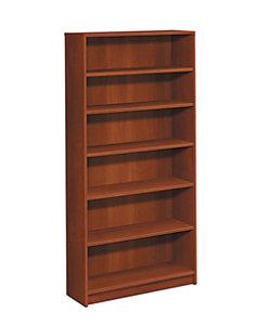 HON 1870 Series 6 Shelf Bookcase Cognac Front Side View H1876.COGN