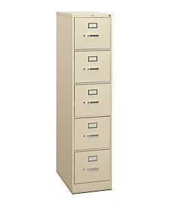 Hon 310 Series 5 Drawer Vertical File Putty Front Side View H315 P L