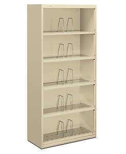 HON Brigade 600 Series 5-Drawer Lateral File Putty Color Front Side View HJ625CN.L