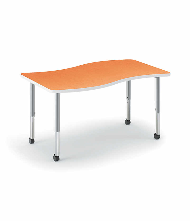 HON Build Ribbon Shaped Table Tangerine Front Side View HESW 3054E 4L.