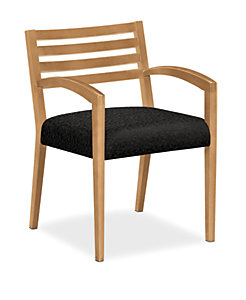 HON Cambia Wood Slat Back Guest Chair Black Front Side View H2165.C.BE11