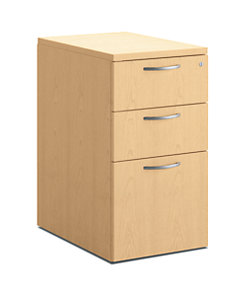 HON Centerpiece File Pedestal Natural Maple Front Side View HVPMPW2415-3W.D.D