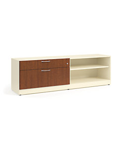 "HON Contain 72""W Left-hand Credenza White Brown Doors Front Side View HSCBX227218LBFOMA"