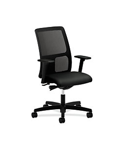 HON Ignition Low-Back Task Chair Mesh Back Tectonic Black Adjustable Arms Front Side View HITL2.A.H.M.NT10.T.SB