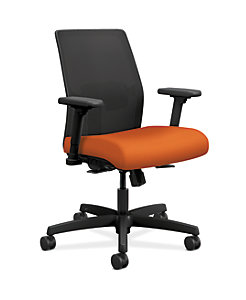 HON Ignition Low-Back Task Chair Mesh Back Centurion Tangerine Color Adjustable Arms Front Side View HITLM.Y1.A.H.IM.CU46.AL.SB.T