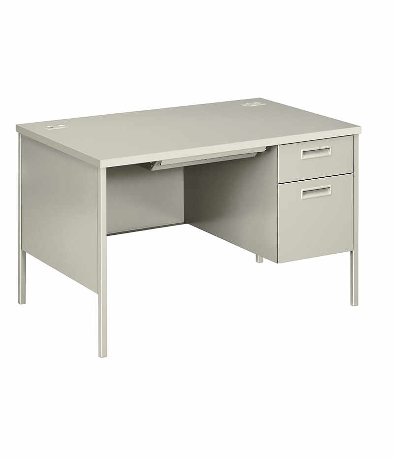 HON MetroClassic Right Pedestal Desk Light Gray Front Side View HP3251R.Q.Q