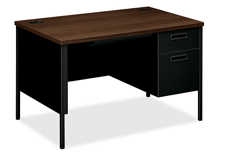 HON MetroClassic Right Pedestal Desk Brown Black Front Side View HP3251R.Z.P