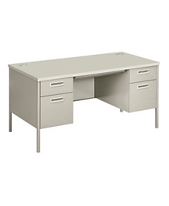 HON Metro Classic Double Pedestal Desk White Front Side View HP3262.Q.Q