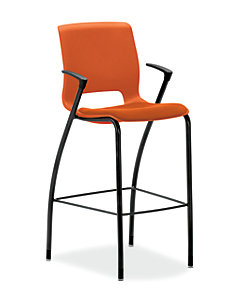 HON Motivate Cafe Height Stool Centurion Tangerine Fixed Arms Front Side View HMG7.F.E.RG.CU46.BLCK