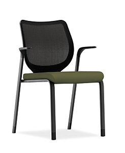 HON Nucleus Stacking Chair Centurion Olivine Color Black Frame Color Fixed Arms Front Side View HN6.F.E.IM.CU82.T