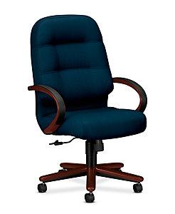 HON PillowSoft Executive High-Back Chair Tectonic Mariner Mahogany Finish Front Side View H2191.N.NT90
