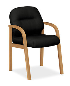 HON Pillow Soft Guest Chair Tectonic Black Harvest Finish Front Side View H2194.C.NT10