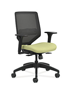 HON Solve Mid-Back Task Chair with Knit Mesh Back Light Green Adjustable Arms Front Side View HSLVMM.Y1.A.H.IM.COMP82.BL.SB