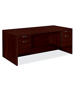 HON Valido Double Pedestal Desk Mahogany Front Side View H11593.A.F.NN