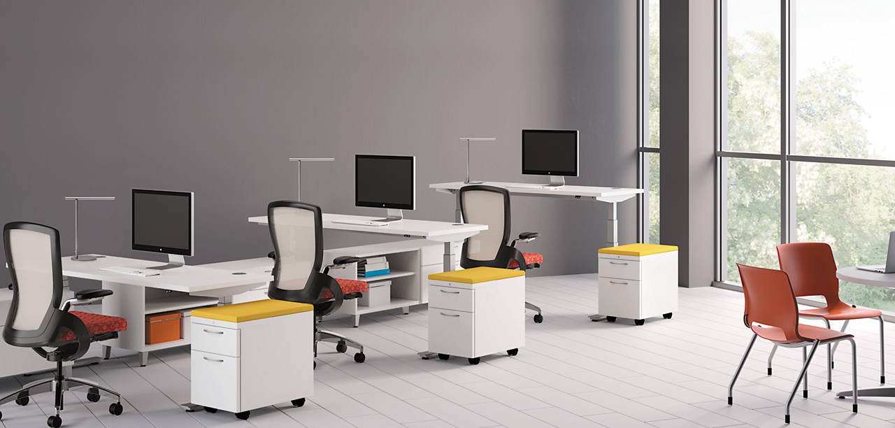 Flagship pedestals in an open work environment