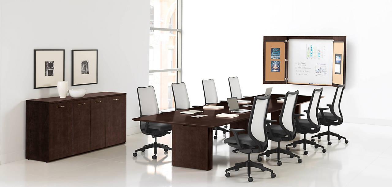 Preside Boardroom Table in Mocha Finish