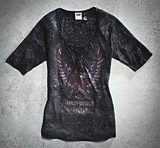 Front Laced Eagle Burnout Tee