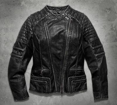Women&39s Washed Leather Biker Jacket   Black Label   Official