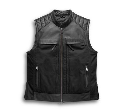 Men S Synthesis Pocket System Leather Textile Vest