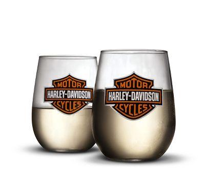stemless wine glasses wine official harley davidson. Black Bedroom Furniture Sets. Home Design Ideas