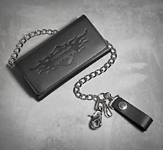 Bar & Shield Flames Biker Wallet