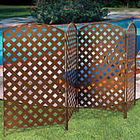 Bronzed Metal Screen Garbage Can Lattice