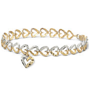 10K Gold Two-Tone Heart Charm Bracelet