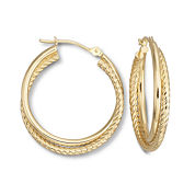 14K Yellow Gold 25mm Spiral Hoop Earrings