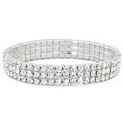 Vieste® 3-Row Stretch Rhinestone Bracelet
