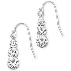 Vieste® 3-Stone Rhinestone Earrings