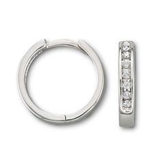1/6 CT. T.W. Diamond 10K White Gold Hoop Earrings